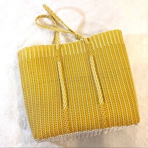 Vintage Yellow White Woven Plastic Beach Bag Tote